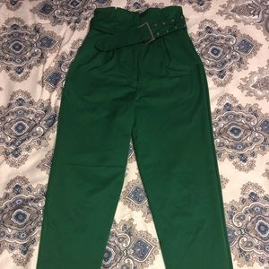 H&M Green Paperbag Trousers